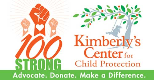Kimberlys Center for Child Protection 100 Strong logo.